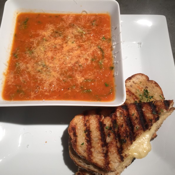 a spin on a classic roasted tomato soup and gourmet