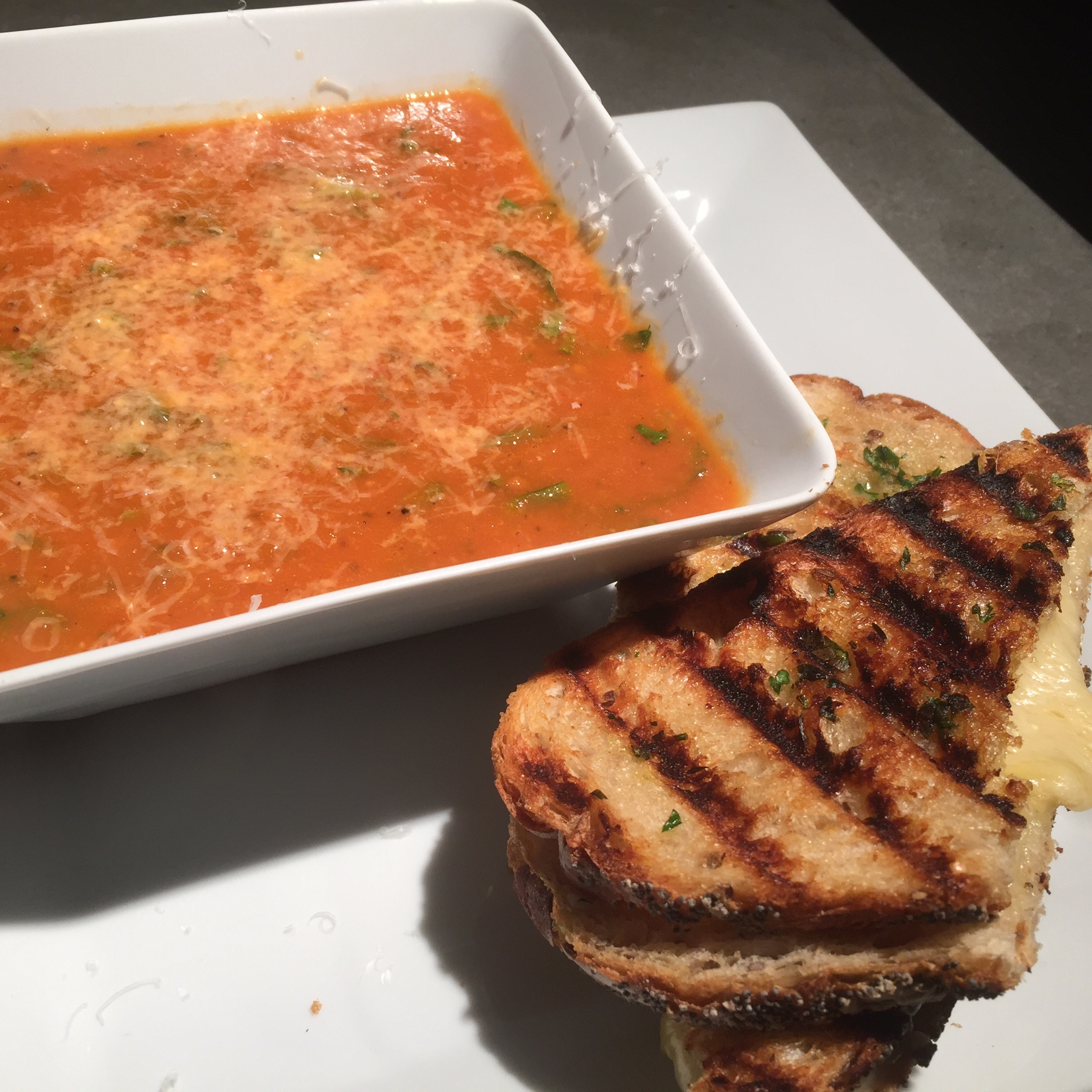 a spin on a classic – roasted tomato soup and gourmet grilled cheese