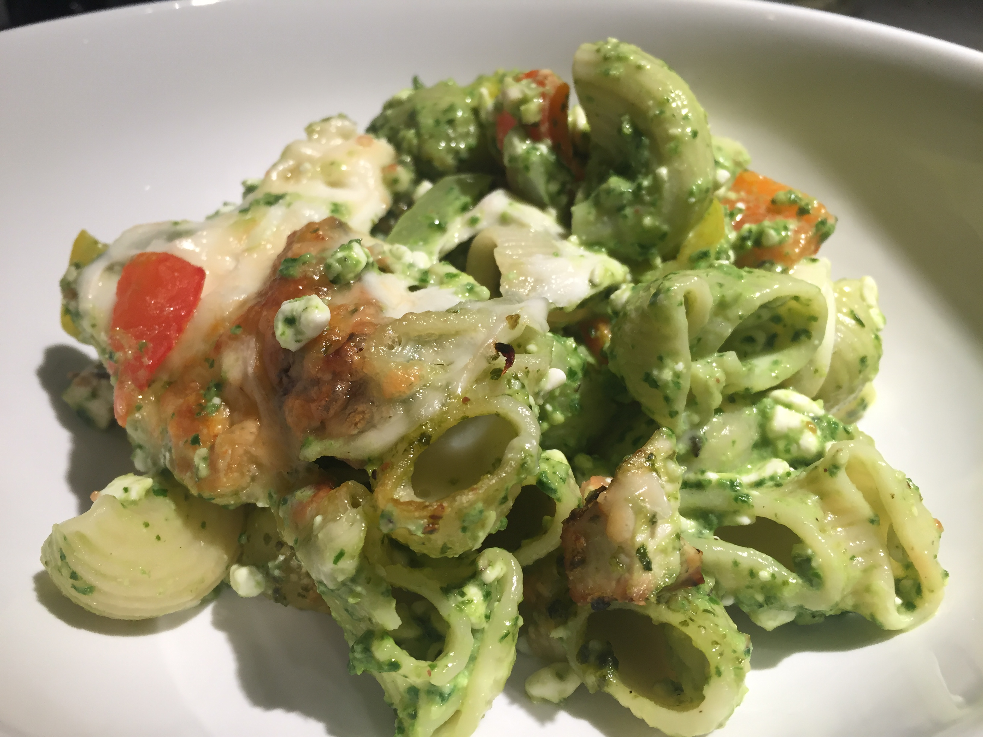 girls night….IN!  grilled chicken pesto pasta
