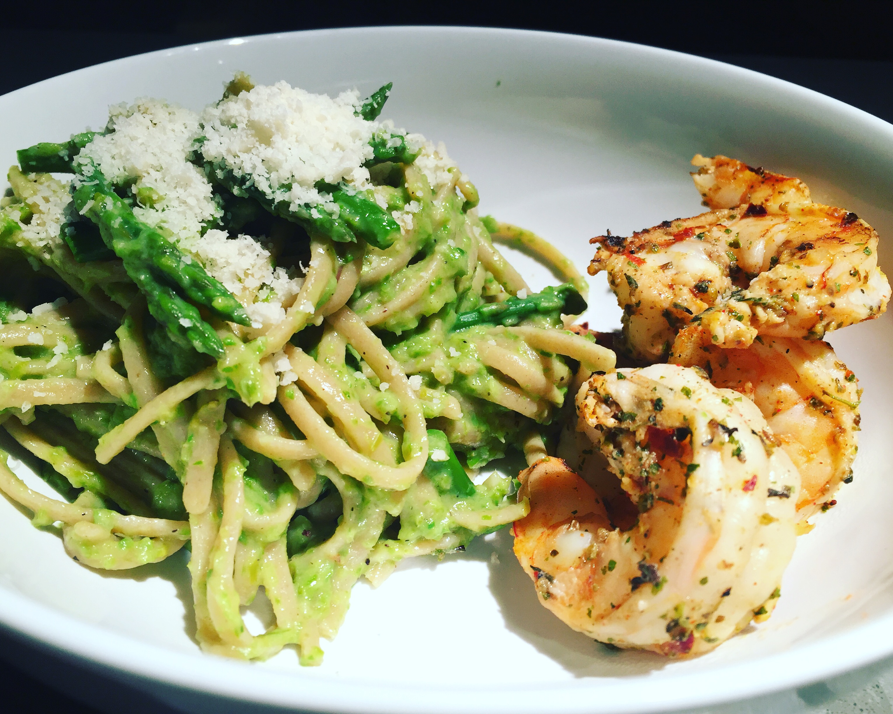 springtime meals: grilled shrimp and lemony asparagus pasta