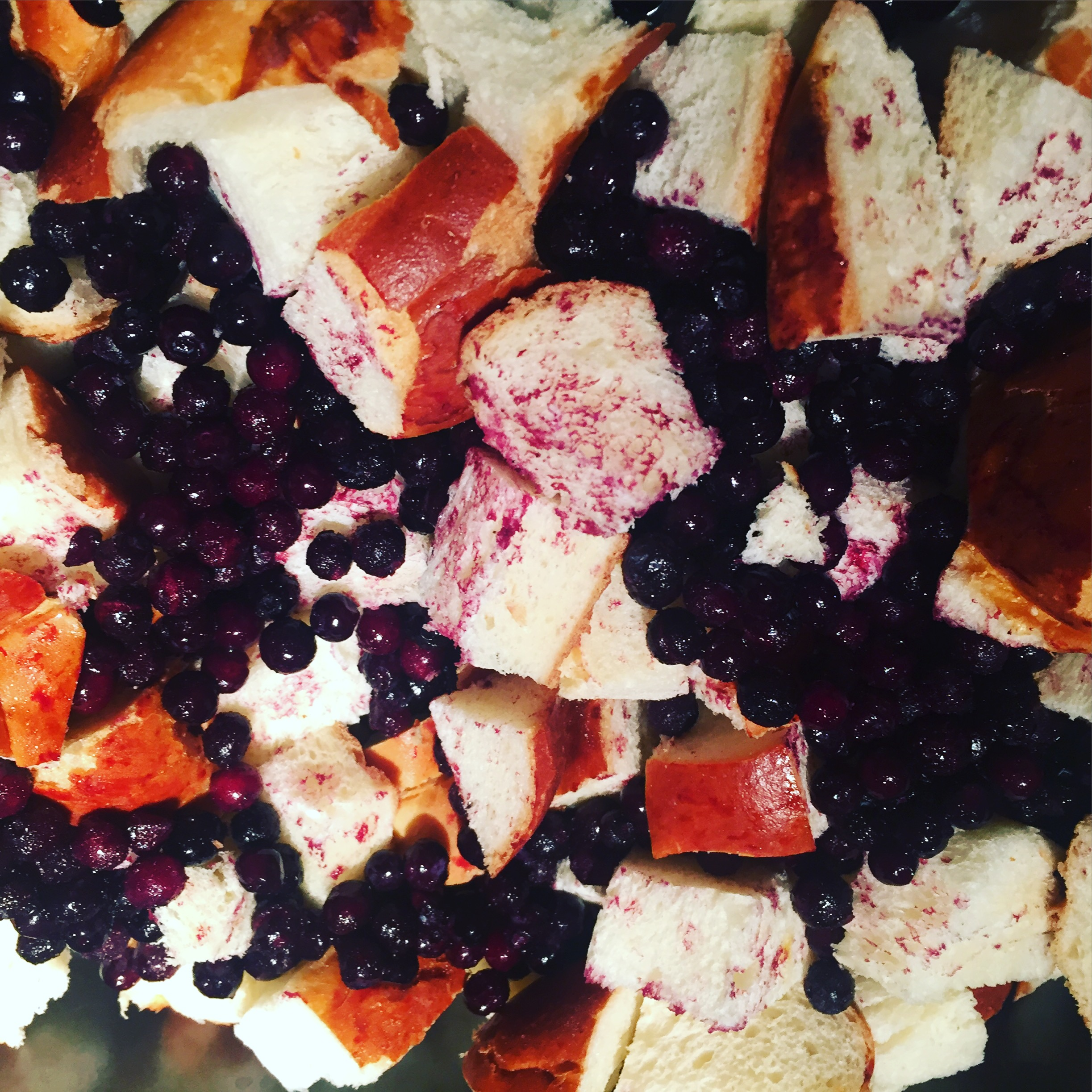 boozy brunch: blueberry french toast casserole with blueberry bourbon syrup