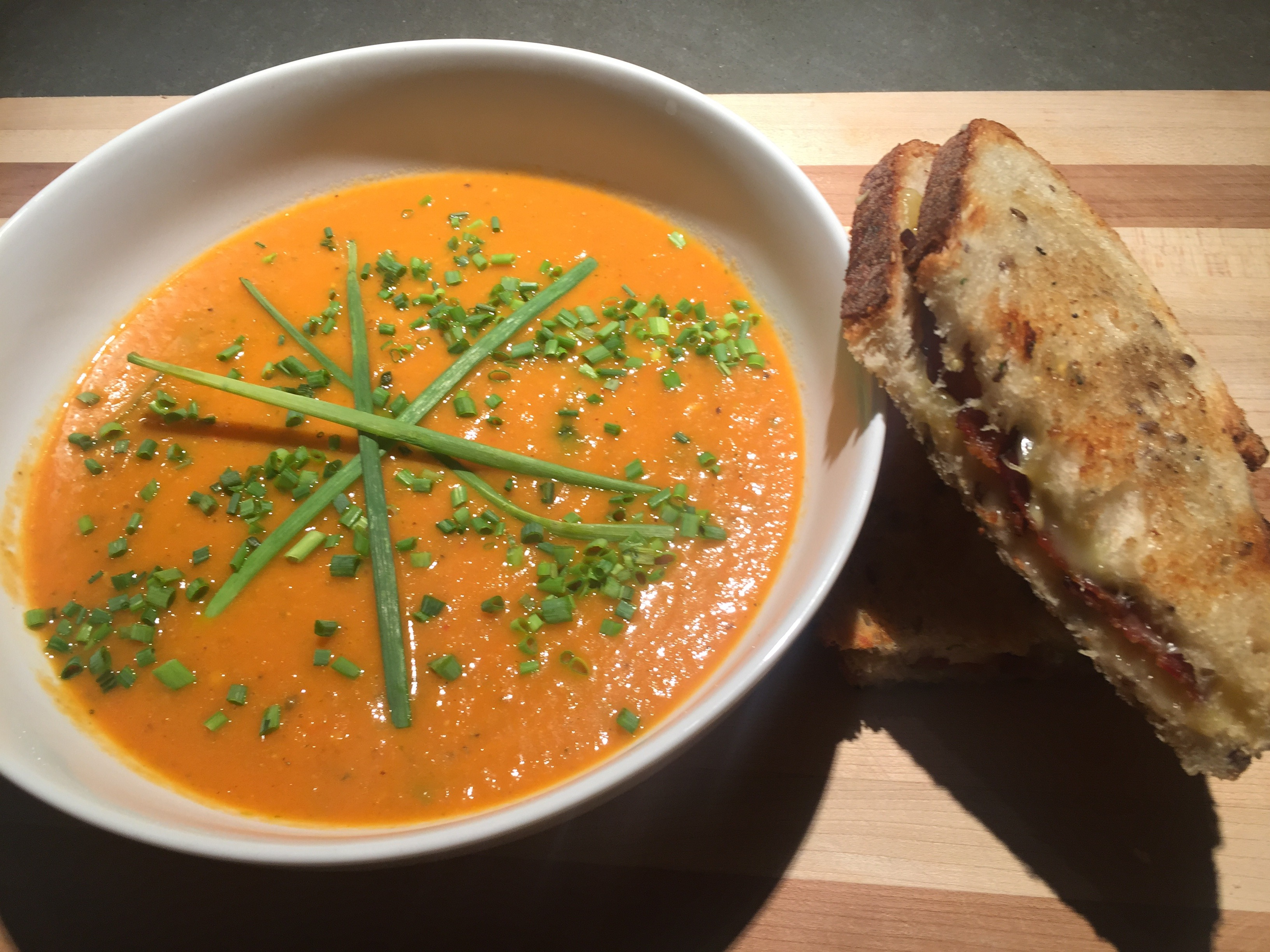classic combossummertime soup and grilled cheeseeat.breathe.love