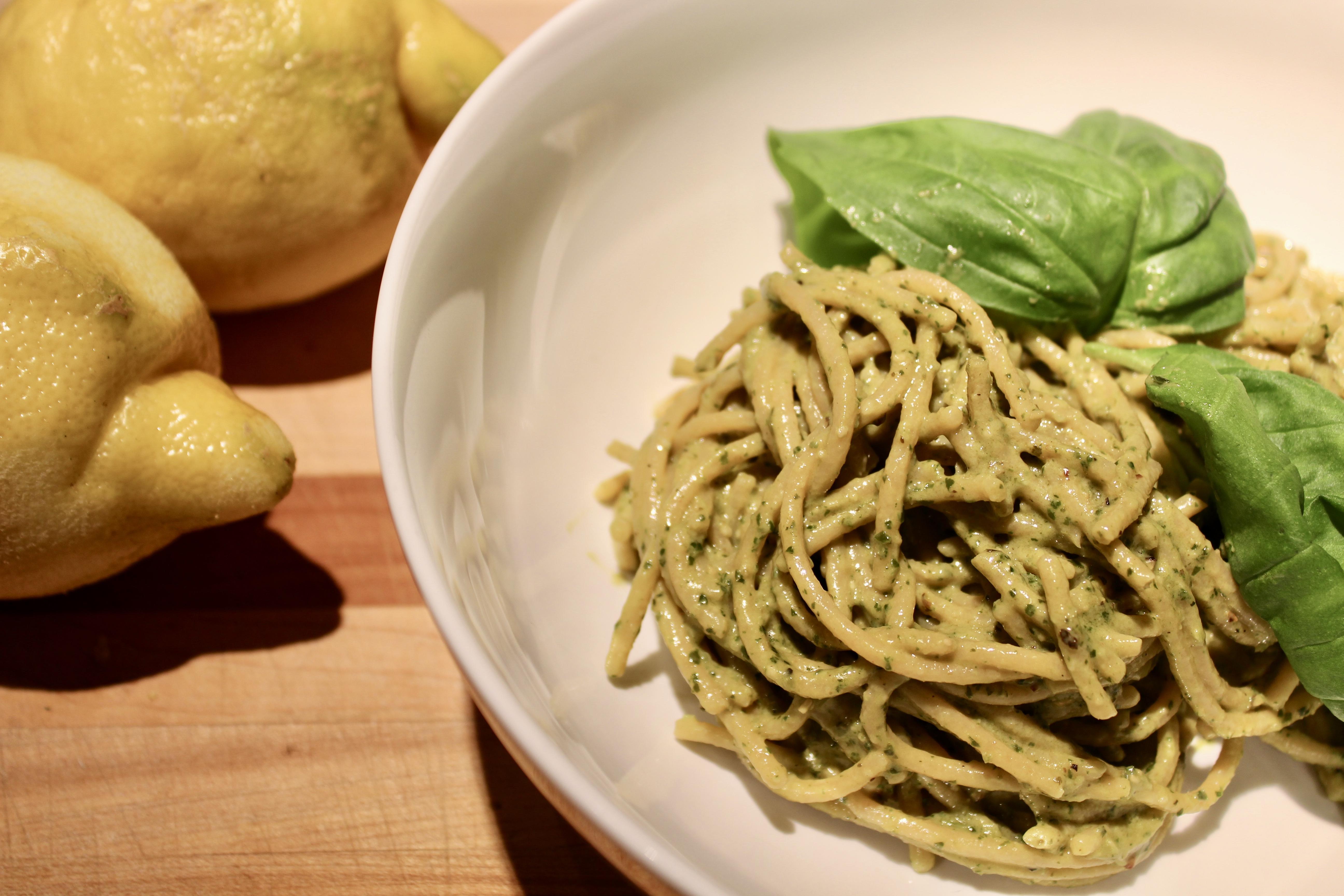 quick sides: creamy pesto pasta