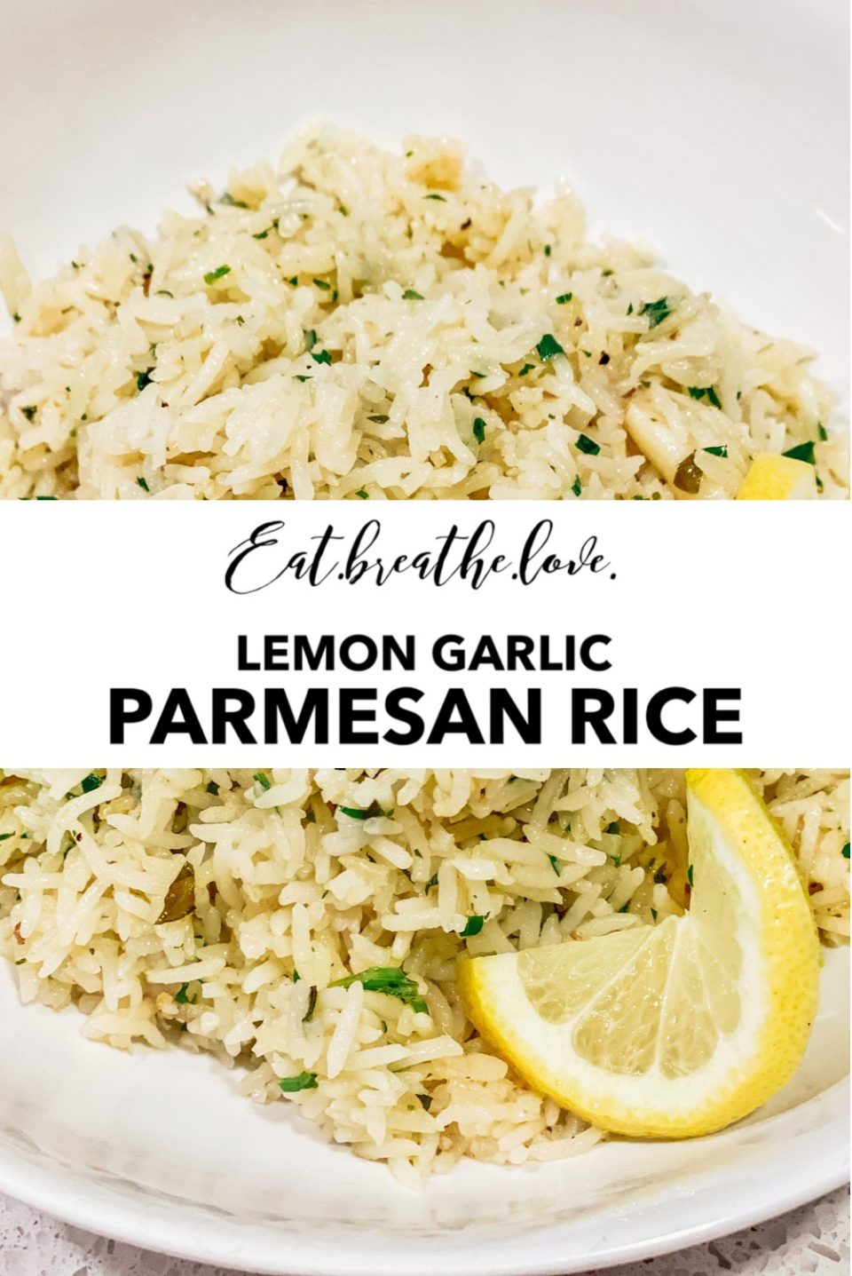 Easy Lemon Garlic Parmesan Rice || www.eatbreathelove.net