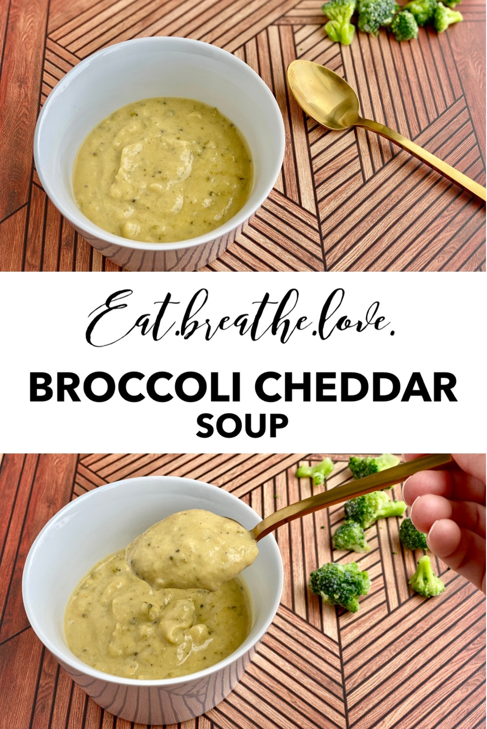 Image with a picture of broccoli cheddar soup