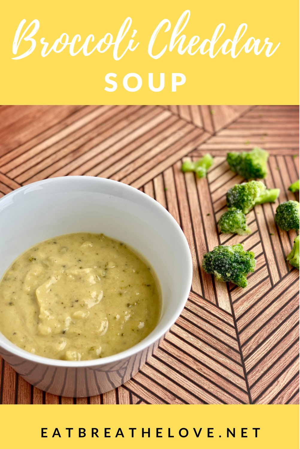 An image of a bowl of broccoli cheddar soup