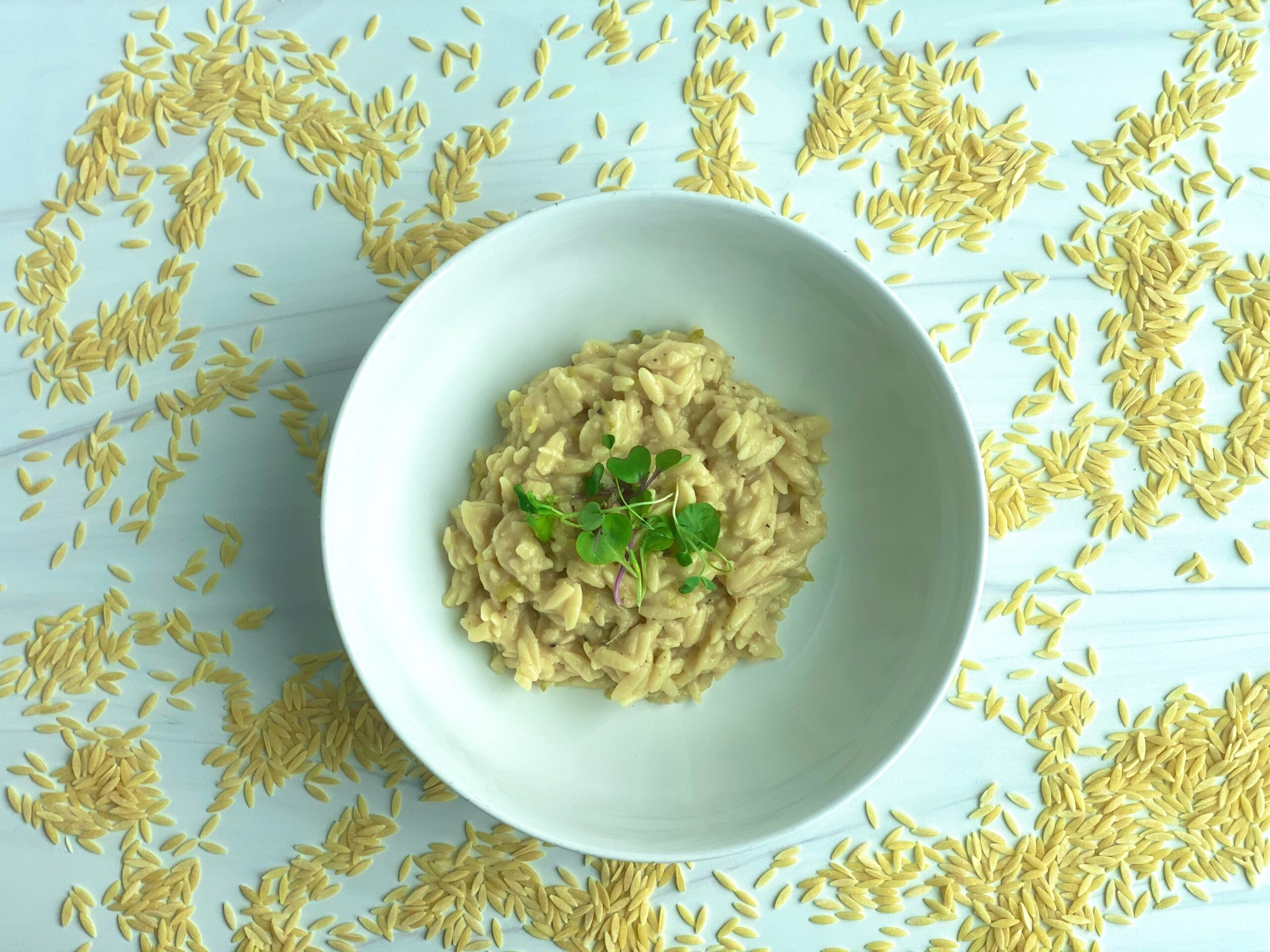 An image of a bowl of orzo pasta surrounded by uncooked orzo