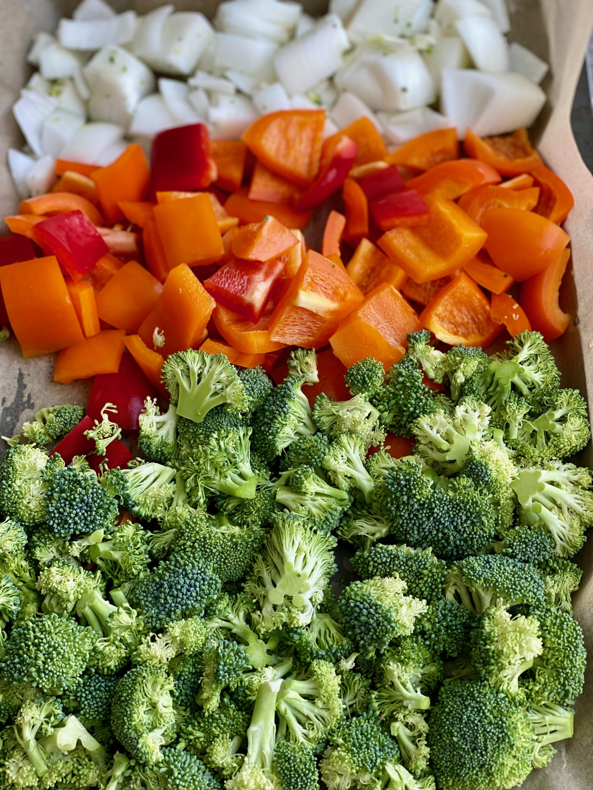 Image of a pan of broccoli, bell peppers and onions